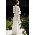 Long Sleeve White Evening Wedding Dress With Back Plunging neckline - Ref L1950 - 04