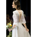 Long Sleeve White Evening Wedding Dress With Back Plunging neckline - Ref L1950 - 05