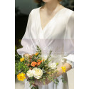 Long Sleeve White Evening Wedding Dress With Back Plunging neckline - Ref L1950 - 06