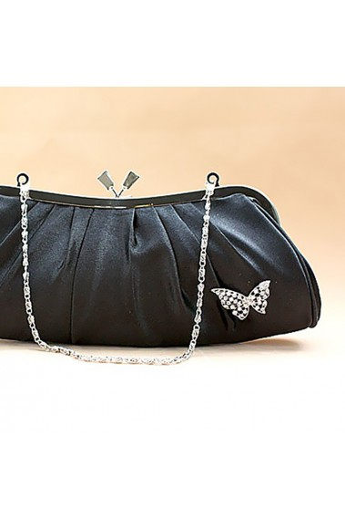 Satin black clutch bags with butterfly - SAC091 #1