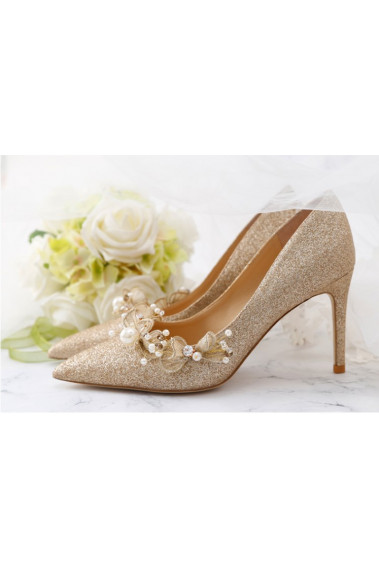Sparkling Glitter Champagne Bridal Shoes - CH110 #1
