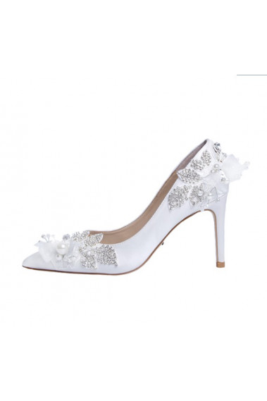 Pretty White Wedding Sandals With Heels - CH111 #1