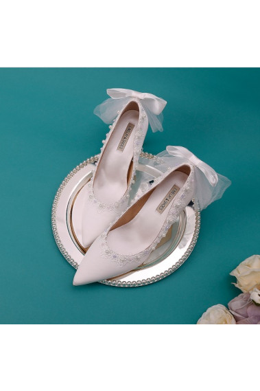 Gorgeous Wedding White Shoes With Pearls - CH112 #1
