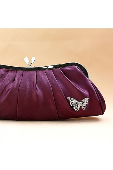 Violet evening clutch with butterfly - SAC097 #1