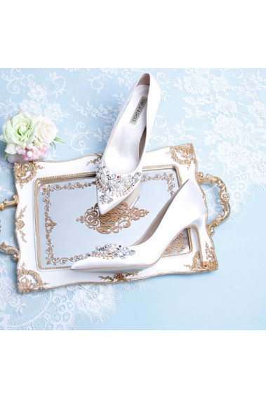 Stylish White Rhinestone Wedding Shoes - CH114 #1