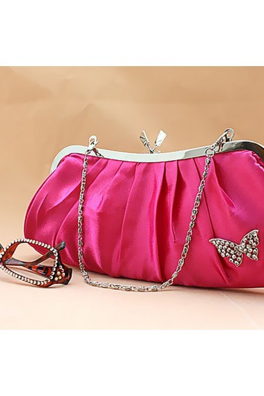 Satin pink evening clutch with chain - SAC099 #1