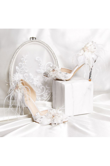 Pretty White Vintage Chic Bridal Shoes - CH117 #1