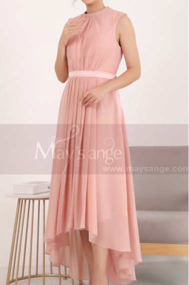 Robe de cocktail rose - Robe Cocktail Mariage Asymétrique Rose Sans Manches En Mousseline - C906 #1