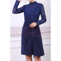 High Collar Navy Blue Short Lace Long Sleeve Evening Gowns - Ref C902 - 02