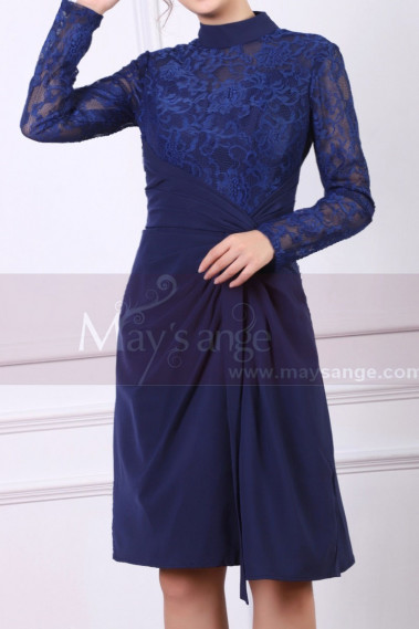 High Collar Navy Blue Short Lace Long Sleeve Evening Gowns - C902 #1