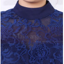 High Collar Navy Blue Short Lace Long Sleeve Evening Gowns - Ref C902 - 05