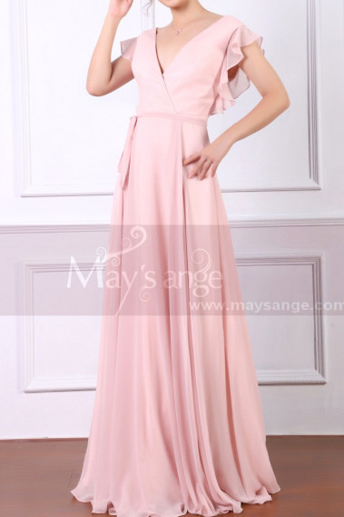 Pink evening dress - Ruffled-Sleeve V-Neck Formal Dress With Ribbon Belt - L1951 #1