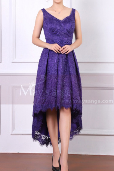 Sleeveless Purple Lace Wedding Guest Dresses High-Low Skirt - C903 #1