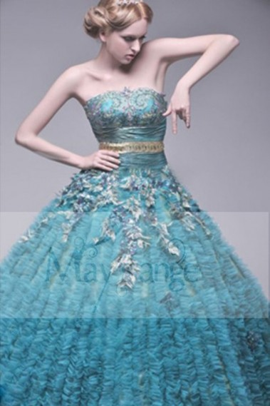 Princess Evening Dress - Strapless Blue Long Prom Dress - P001 #1