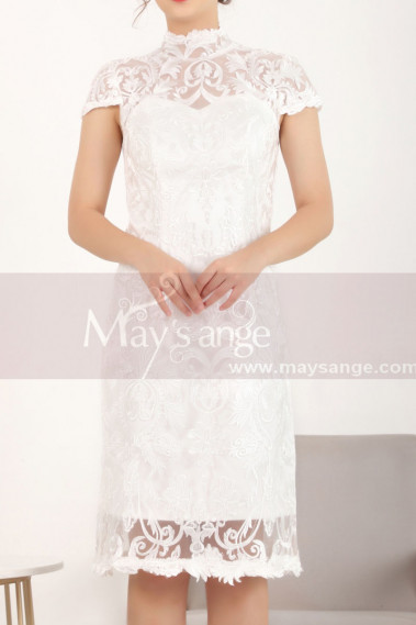Cape-Sleeve Lace Straight Short White Dress For Civil Wedding - C905 #1