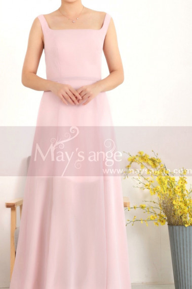 Pink evening dress - Chiffon Pink Evening Square Neck Dress For Women - L1956 #1