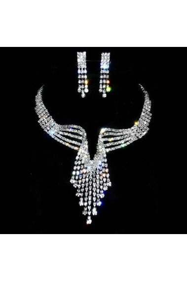 Multicolor sparkly wedding necklace set - E065 #1