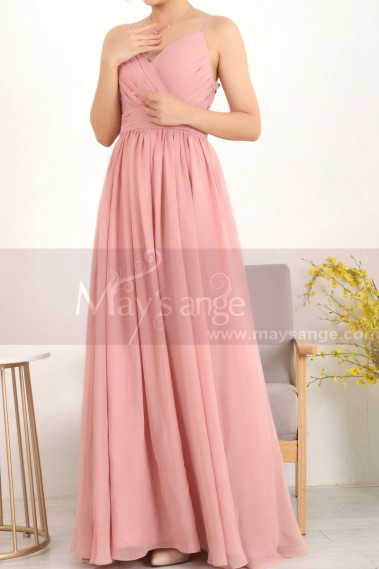 Pink evening dress - Draped V-Neck Simple Prom Dresses In Pink With Strap - L1957 #1