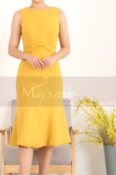 Stylish Belted Short Mermaid Mustard Yellow Dress - C908 #1