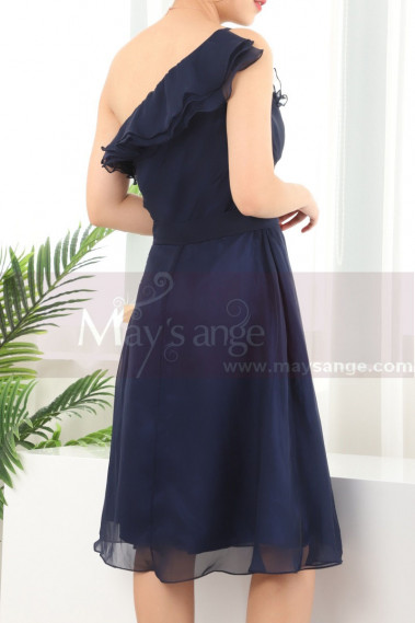 Ruffle Neckline One Shoulder Navy Blue Birthday Dress For Women - C909 #1
