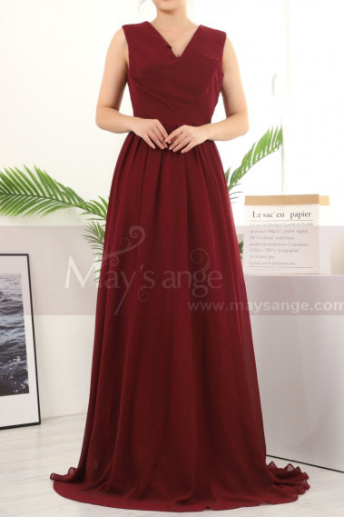 Long A-Line Burgundy Bridesmaid Dresses In Chiffon Without Sleeves - L1958 #1