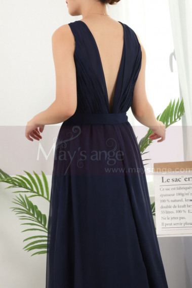 Long Backless Navy Blue Prom Dresses Licou Collar - L1959 #1