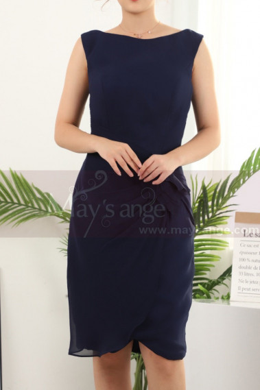 Sleeveless Short Blue Party Dresses Wrap Skirt - C912 #1