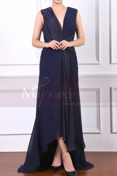 Asymmetrical Skirt Class Navy Blue Mother Of The Bride Dress - L1960 #1