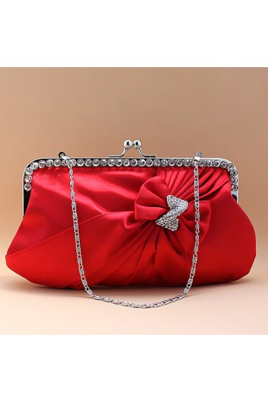 Red satin clutch with Strass and knot - SAC118 #1