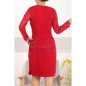 Vintage Short Red Long Sleeve Dress Two Lace Side - Ref C913 - 02
