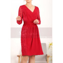 Vintage Short Red Long Sleeve Dress Two Lace Side - Ref C913 - 04