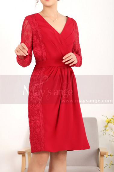 Red cocktail dress - Vintage Short Red Long Sleeve Dress Two Lace Side - C913 #1