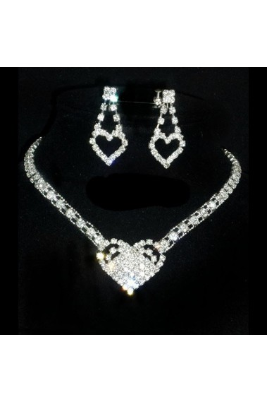 Sparkly heart necklace and earrings set - E072 #1