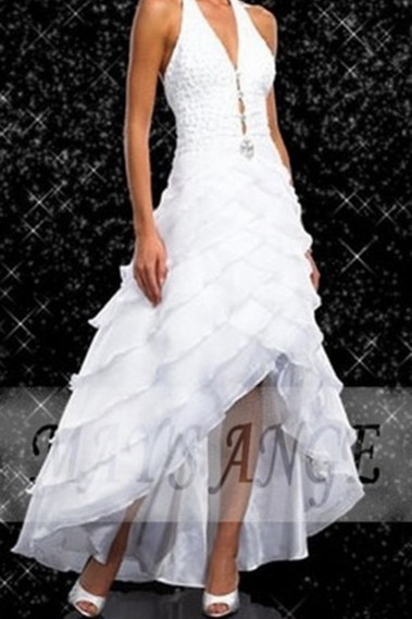 Evening Dress with straps - White Fashion Dress For Special Occasion - P002 #1