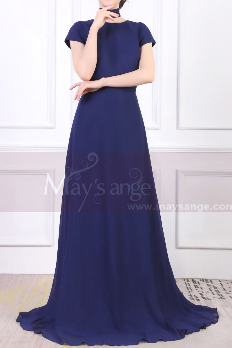 Chiffon Cut Out Back Long Blue Evening Dress With Small Train - Ref L1961 - 01