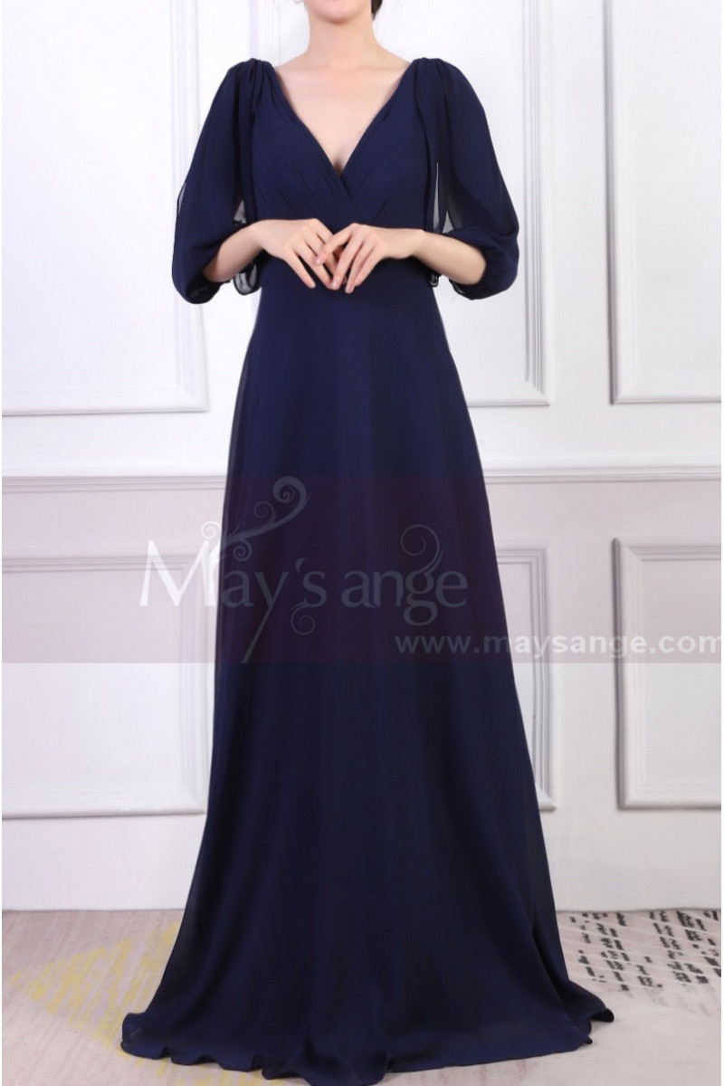 V-Neck Blue Long Sleeve Maxi Dress For Ceremony - Ref L1962 - 01