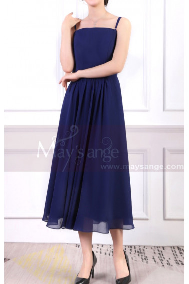 Blue Dress For Birthday Party With Thin Straps And Elastic Back
