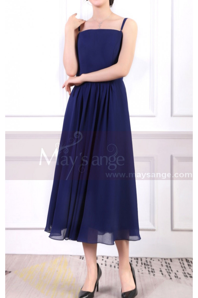 Blue Dress For Birthday Party With Thin Straps And Elastic Back - Ref L1963 - 01
