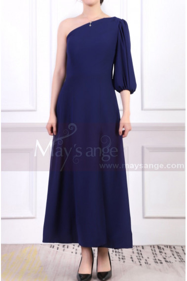 One Sleeve Asymmetrical Blue Wedding Guest Dress - L1965 #1