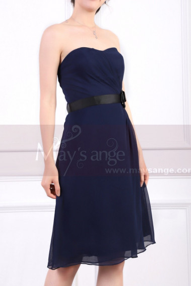 Blue cocktail dress - Strapless Short Navy Dress Chiffon Black Flower Belt - C915 #1
