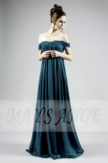 Long Dress for Wedding - Green-Blue Chiffon Off-The-Shoulder Plus-Size Dress - L022 #1