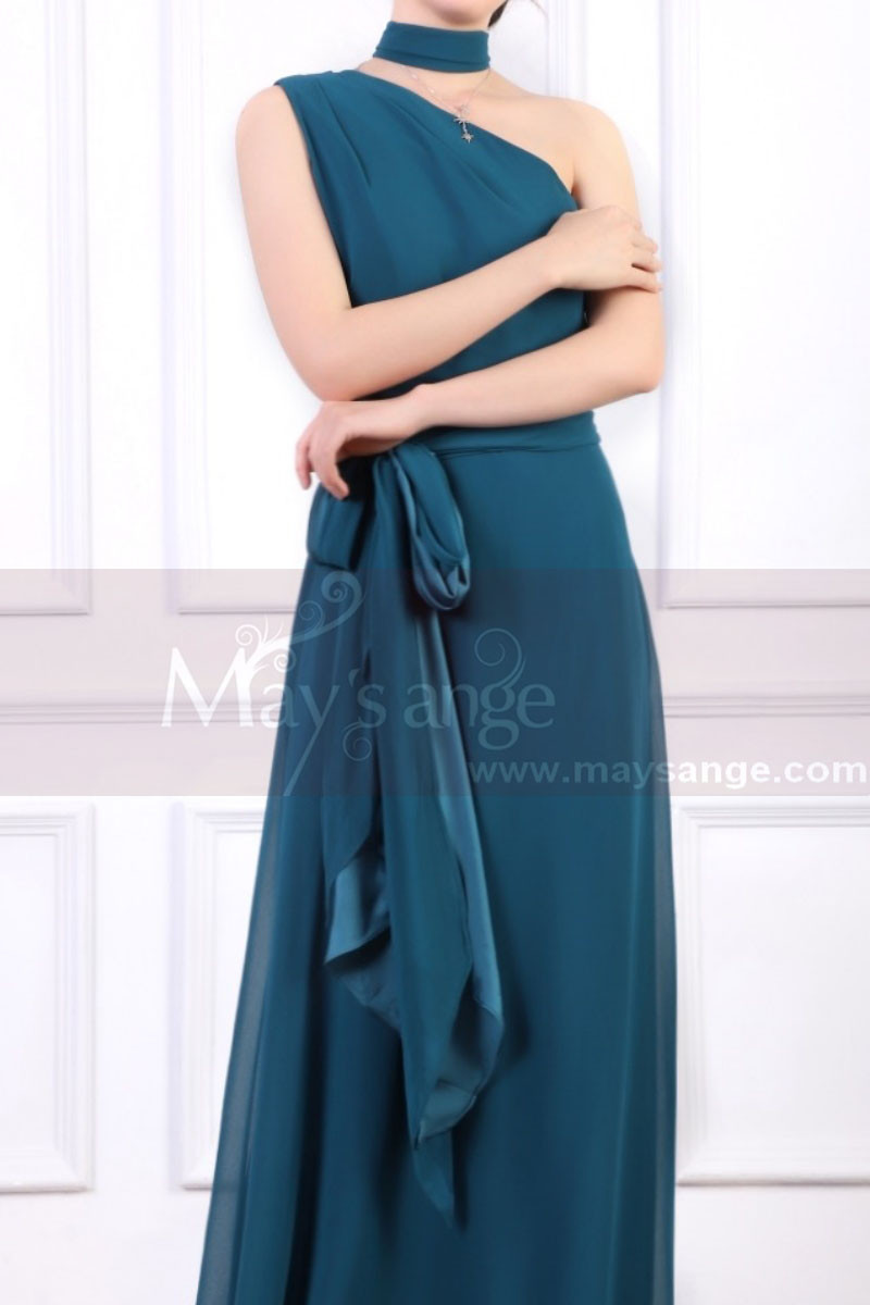 Long Asymmetrical Petrol Blue Women's Ceremony Dress With Matching Belt And Necklace - Ref L1966 - 01