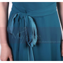 Long Asymmetrical Petrol Blue Women's Ceremony Dress With Matching Belt And Necklace - Ref L1966 - 04