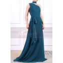 Long Asymmetrical Petrol Blue Women's Ceremony Dress With Matching Belt And Necklace - Ref L1966 - 06