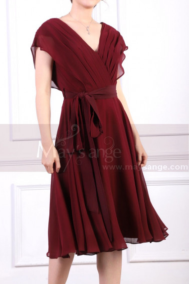 Ruched Bodice Short Burgundy Chiffon Prom dresses Tie Belt - C914 #1