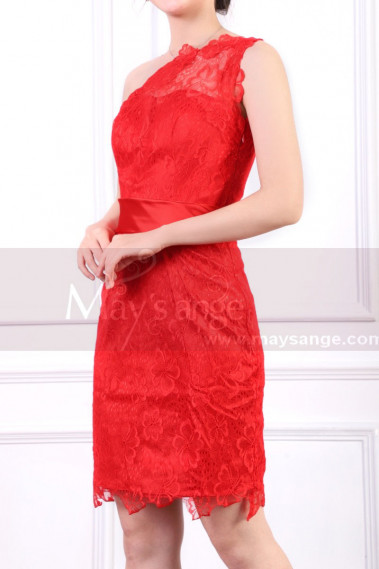 One Shoulder Lace Red Cocktail Dress Short With Satin Belt - C918 #1