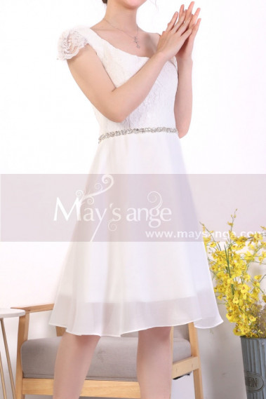 Cap Sleeve Short White Lace Party Dresses With Shiny Belt - C920 #1