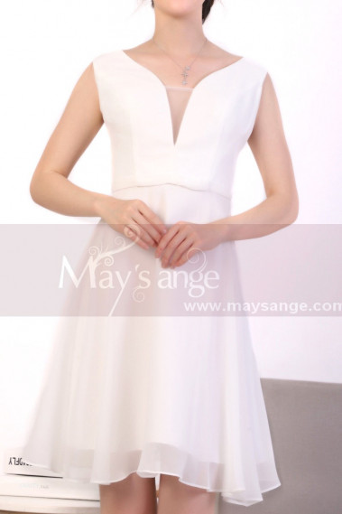 Sexy cocktail dress - White Short Backless Dress Chiffon - C921 #1