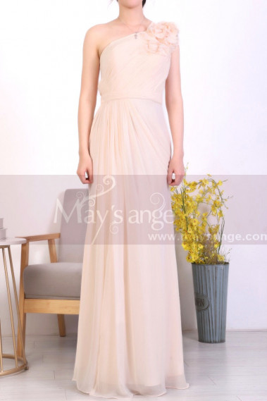 Peach Long Asymmetrical Evening Dress With Slit And One Flower Strap - L1967 #1