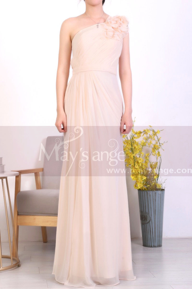 Peach Long Asymmetrical Evening Dress With Slit And One Flower Strap - Ref L1967 - 01